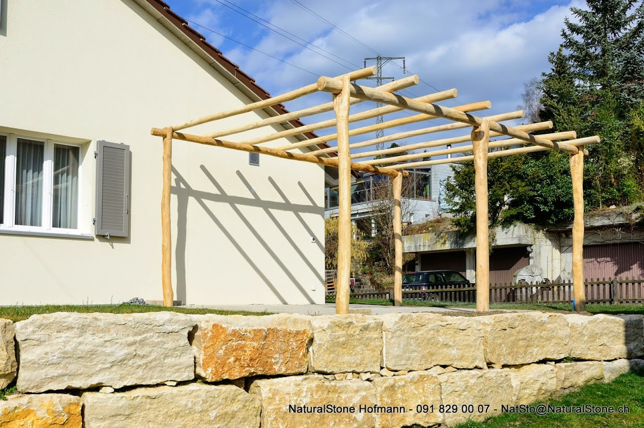 Top Pergolapfosten aus Holz – Pergola aus Tessiner Naturstein DY56